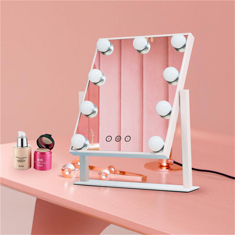 Handkontroll Dimmable Brighness 360 Roterande Vanity Makeup Hollywood Mirror med 12 LED Bulbs